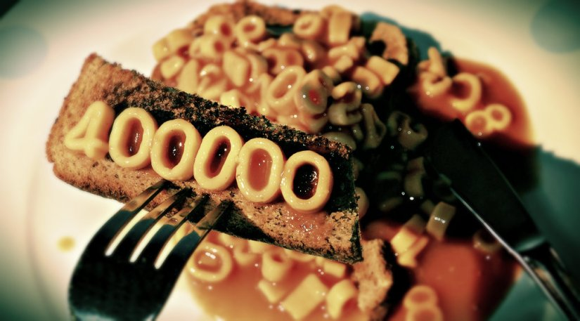100mil vistias en 4 meses, 400,000 visitas en total, gracias :)